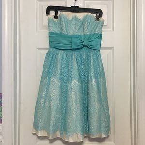 Betsey Johnson Light blue strapless lace dress